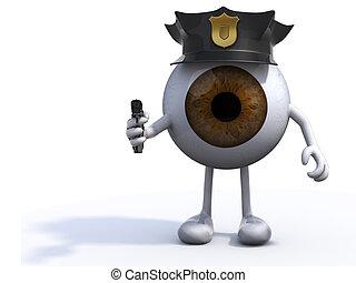 flic, oeil, grand, fusil, main, police