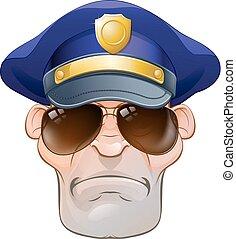 flic, police, fâché, nuances, homme, dessin animé, moyenne
