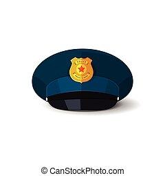 flic, police, illustration, chapeau, casquette, vecteur, officier, écusson