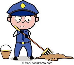 flic, policier, brooming, -, illustration, vecteur, retro