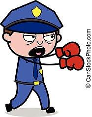 flic, policier, -, combat, vecteur, illustration, retro