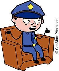 flic, policier, -, discutant, vecteur, illustration, retro