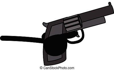 flic, policier, -, fusil, illustration, vecteur, retro