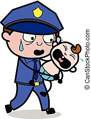 flic, policier, -, illustration, courant, vecteur, retro, bébé pleurant