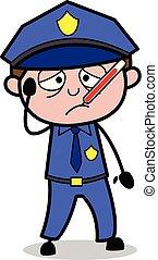 flic, policier, -, illustration, indisposé, vecteur, retro