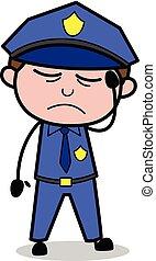 flic, policier, -, illustration, vecteur, retro, mal tête