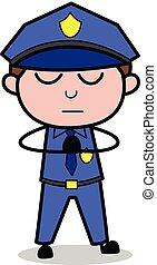flic, policier, -, illustration, vecteur, retro, prière
