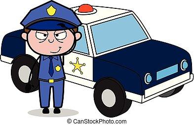 flic, policier, -, illustration, vecteur, retro, saluer