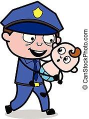 flic, policier, -, illustration, vecteur, retro, tenant bébé, jouer