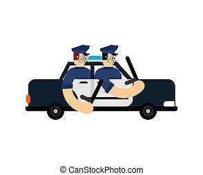 flic, policier, mal, patrouilles, voiture., route