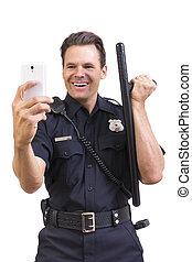 flic, prendre, idiot, selfie, bâton