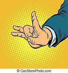 flick gesture fingers. Pop art retro vector illustration...