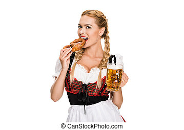 flicka, öl, salt kringla
