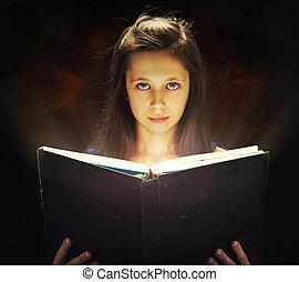 flicka, öppning, den, magi, bok