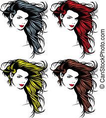 flicka, ansikte, hår