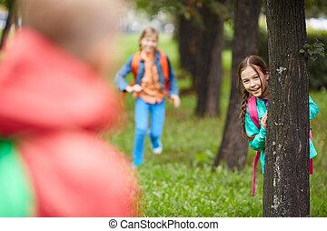 flicka, av, a, träd
