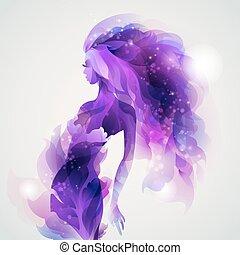flicka, avbild, purpur
