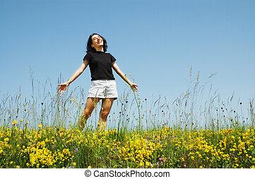 flicka, avnjut, vacker, solsken