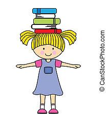 flicka, böcker, leka