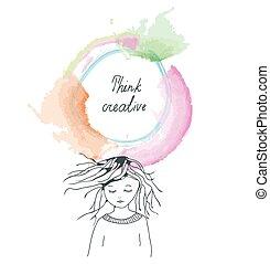 flicka, bakgrund, tänkande, ram, skapande, begrepp