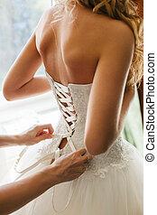 flicka, baksida, brud, ha på sig, bröllop, utsikt., klänning, vit