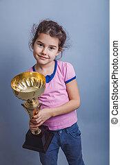 flicka, barn, 6, år, av, europe, uppträden, fästen, a, kopp,...