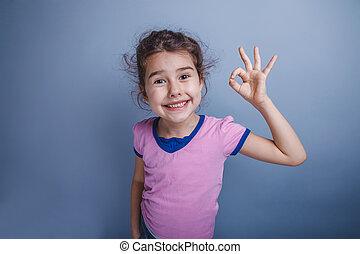 flicka, barn, 6, år, av, europe, uppträden, visande, tummar...