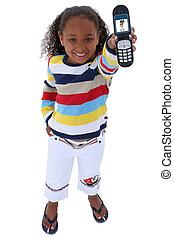 flicka, barn, mobiltelefon