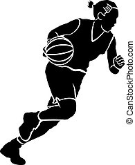 flicka, basket dribbla, sihouette