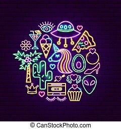 flicka, begrepp, neon, driva