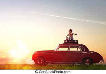 flicka, bil., tak, sittande