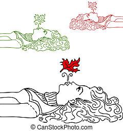flicka, blåsning, blad, luft