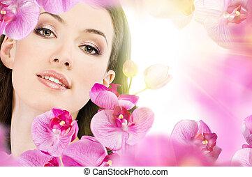 flicka, blomma