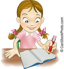 flicka, bok, ung, skrift