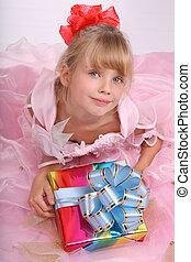 flicka, box., gåva