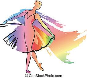 flicka, dans, ballerina