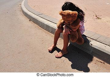 flicka, det lider, inrikes, ung, våldsamhet