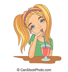 flicka, drickande, cocktail
