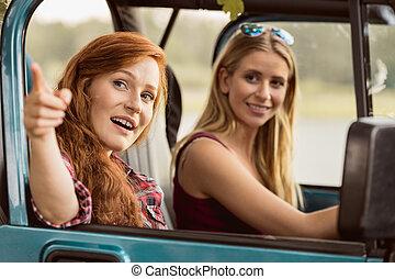 flicka, driva en bil
