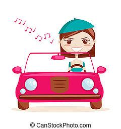 flicka, drivande, retro