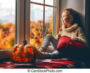 flicka, efter, halloween.