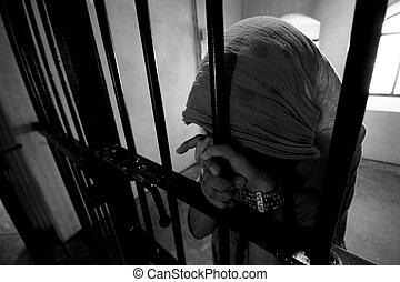flicka, efterkälke barrikaderar