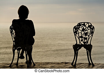 flicka, ensam, stol