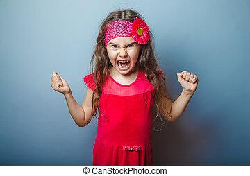 flicka, europe, uppträden, haired, barn, av, sju, in, röd,...