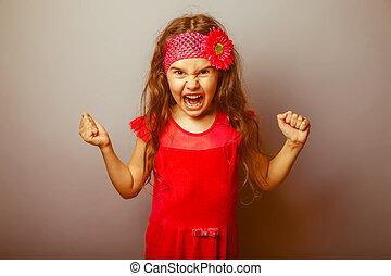 flicka, europe, uppträden, haired, barn, av, sju, in, röd