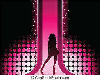 flicka, färgrik, mode, sexig, catwalk., vacker