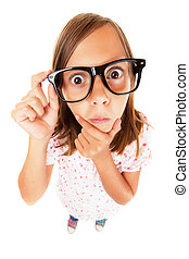 flicka, förvirrat, nerd