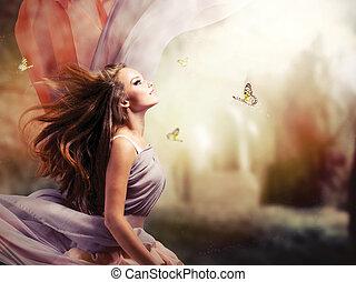 flicka, fantasi, magisk, fjäder, trädgård, vacker, mystiskt