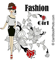 flicka, fashionabel
