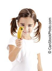 flicka, filma, med, a, banan